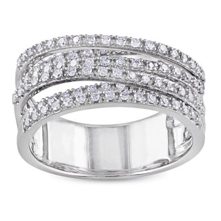 Miadora Sterling Silver 1/2ct TDW Diamond Cross-Over Ring (H-I, I2-I3)