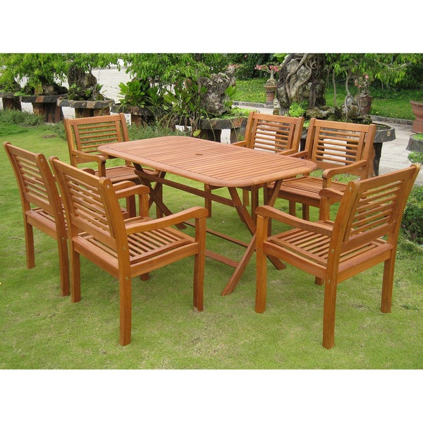 International Caravan Royal Tahiti 'Girona' Yellow Balau Hardwood Dining Set (Set of 7)