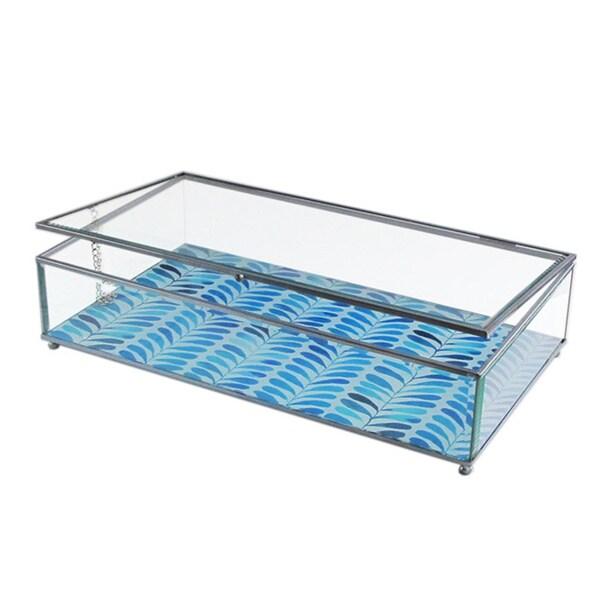 Herringbone Blue/ White Glass Medium Display Box