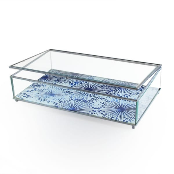 Dandelions Blue Large Glass Display Box
