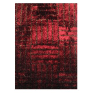 Modern Shag Red Polyester Area Rug (5' x 7'3)