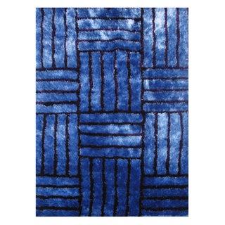 Modern Shag Blue Polyester Area Rug (5' x 7'3)
