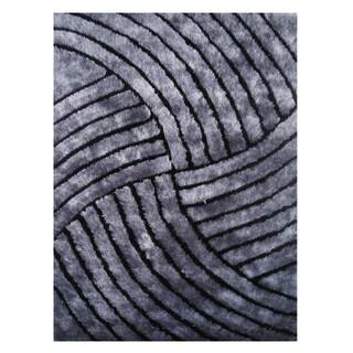 Modern Shag Grey Polyester Area Rug (5' x 7'3)