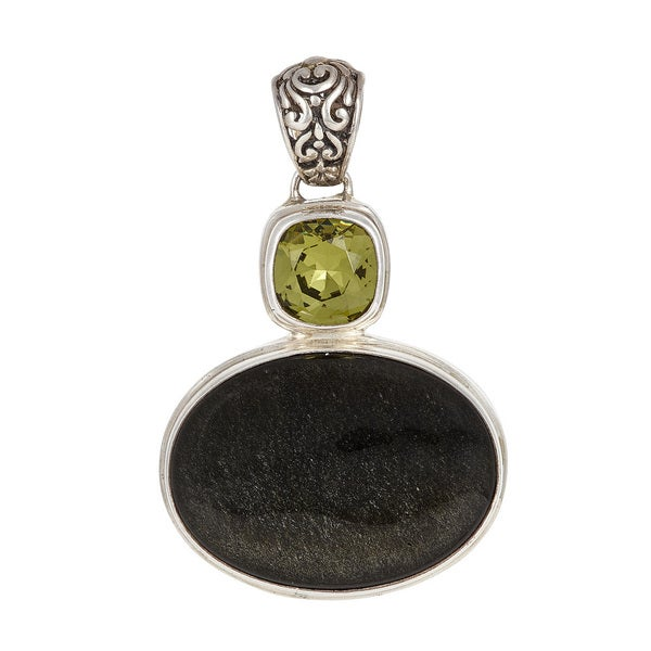 Sterling Silver Obsidian and Olive Crystal Pendant