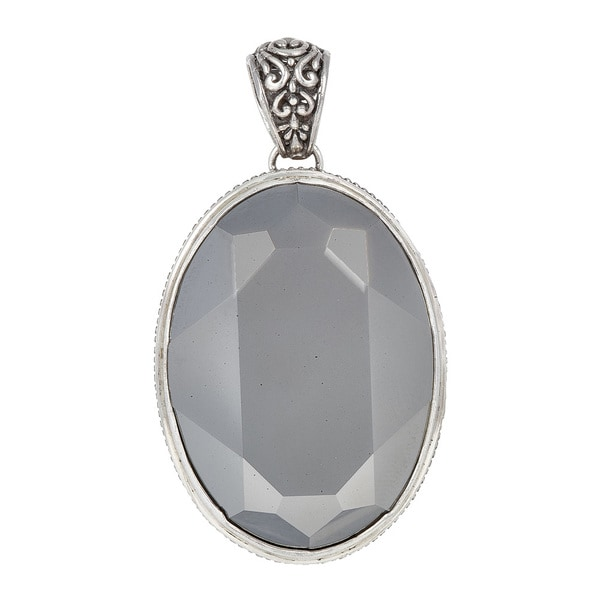 Sterling Silver Metallic Silver Crystal Pendant