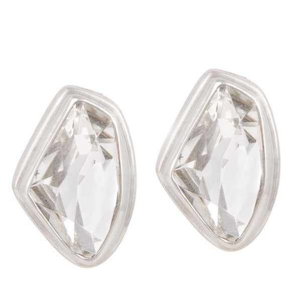 Sterling Silver Clear Crystal Post Earrings