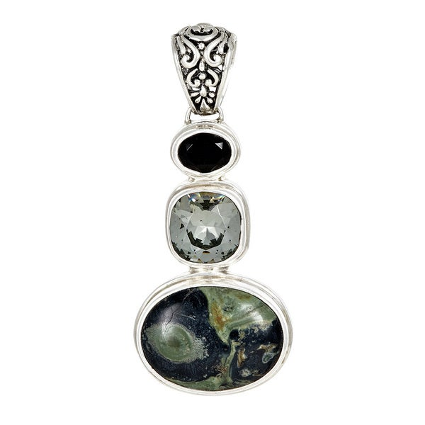 Sterling Silver Jasper with Silver Shade and Jet Black Crystal Pendant