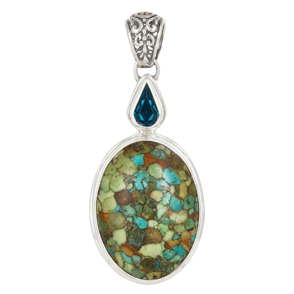 Sterling Silver Turquoise Blue Crystal Pendant
