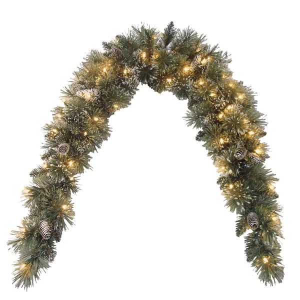 foot Glittery Bristle Pine Mantle Swag   16815562