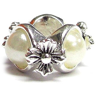 Queenberry .925 Sterling Silver 'White Pearl Flower' European Bead Charm