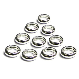 Queenberry .925 Sterling Silver European Ring Spacer Charm (Pack of 10)