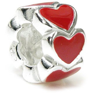 Queenberry .925 Sterling Silver 'Red Enamel Hearts' European Charm
