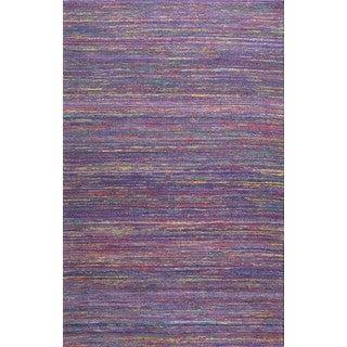 Handmade Textured Sari Silk Purple Area Rug (2' x 3')