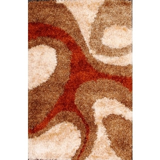 Smooth and Rich Brown and Red Shag Area Rug (5' x 8')