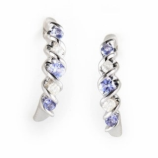 10k White Gold Tanzanite 1/10ct TDW Diamond Earrings (H-I, SI1-SI2)