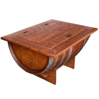 Wine Barrel Distressed Finish Coffee Table