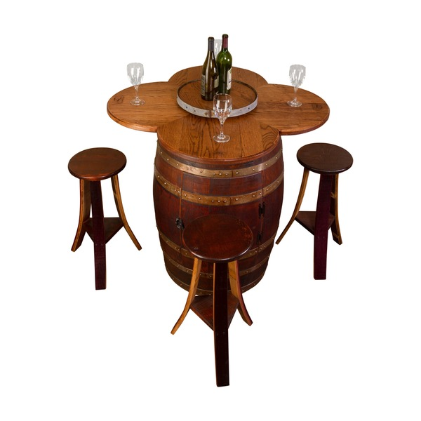 Wine barrel table set with open rack base 16816433 for 1 2 wine barrel table
