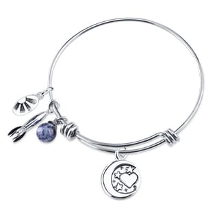 Stainless Steel Expandable 'I Love You to the Moon and Back' Bangle