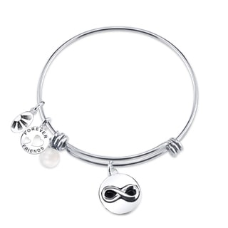 Shine Stainless Steel Expandable 'Friends Forever' Bangle