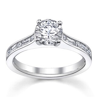 14k White Gold 1 1/3ct TDW Certified Unique Diamond Engagement Ring (H-I, SI3)