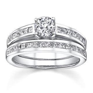 18k White Gold 1 1/3ct TDW Channel-set Certified Diamond Bridal Ring Set (I-J, SI1-SI3)
