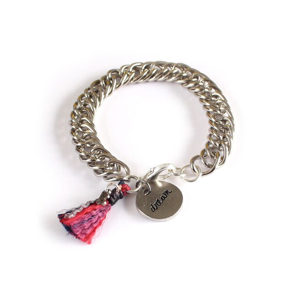 P.S. Dream Silvertone Chain Link Bracelet with Tassel (Guatemala)