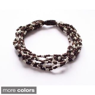 'Life Is...' 7-strand Beaded Bracelet (Guatemala)