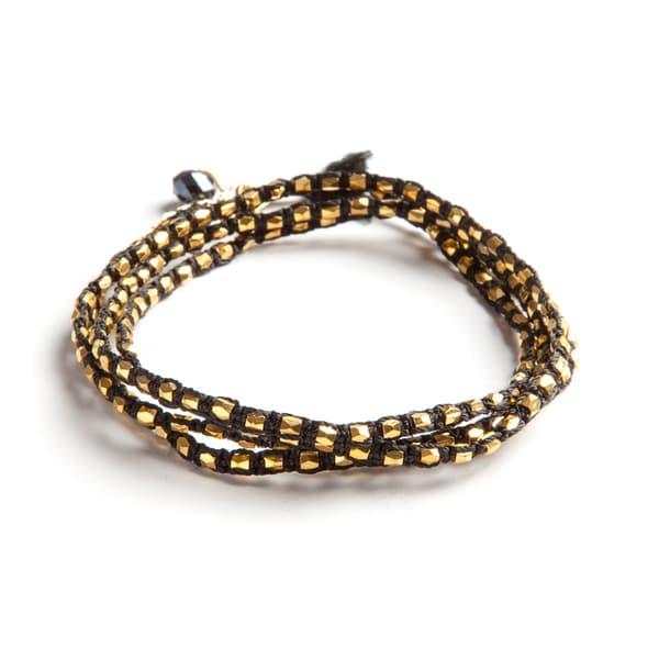 Hand-crafted Black Thread and Goldtone Bead Wrap Bracelet (Guatemala)