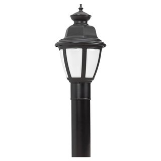 Seagull Lighting Belmar Black One Light Outdoor Post Top Light with White Lens