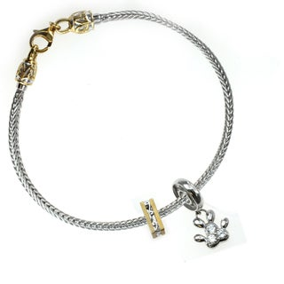 Michael Valitutti Sterling Silver Paw and Filigree Spacer Charm Set with Bracelet