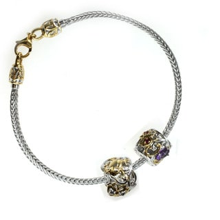 Michael Valitutti Sterling Silver, Amethyst Ruby and Citrine with Filigree Critters Charm Set with Bracelet
