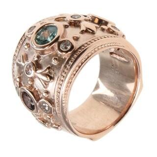 Dallas Prince Rose Gold Over Silver Multi-stone Ring