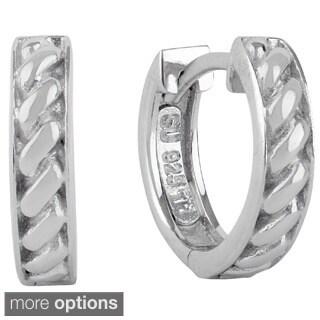 Sunstone Sterling Silver Roped Cuff Hoop Earrings