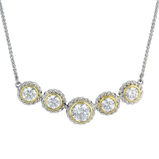 Sunstone Sterling Silver Two-tone Cubic Zirconia Circle Necklace