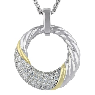Sunstone Sterling Silver Two-tone Pave Cubic Zirconia Open Circle Necklace