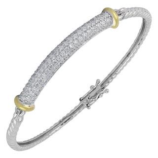 Sunstone Sterling Silver Pave Cubic Zirconia Two-tone Bangle Bracelet