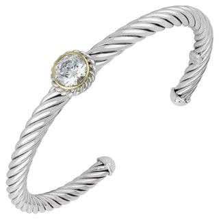 Sunstone Sterling Silver Cubic Zirconia Two-tone Cuff Bracelet