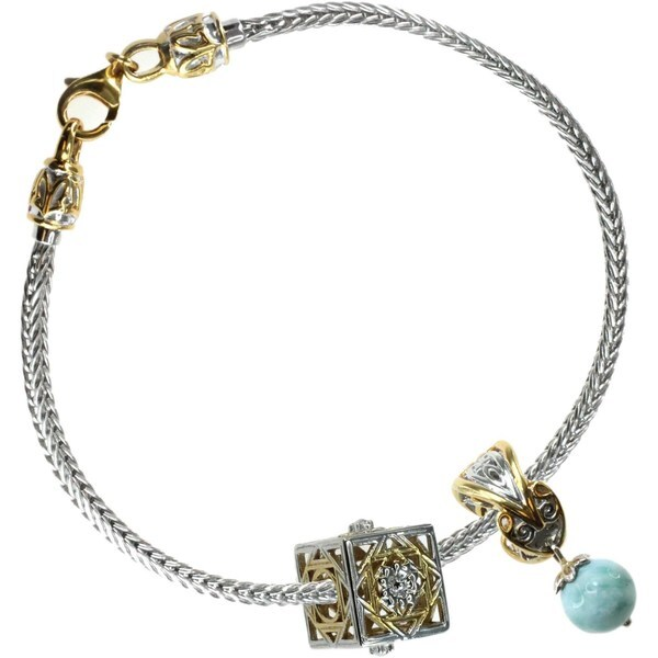 Michael Valitutti Sterling Silver Milk Aquamarine with London Blue Topaz and Gold Embrace Filigree Bracelet Charm Set