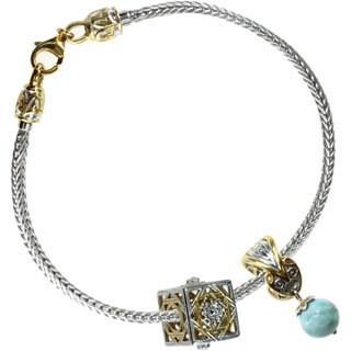 Michael Valitutti Sterling Silver Milk Aquamarine with London Blue Topaz and Gold Embrace Filigree Bracelet Charm Set