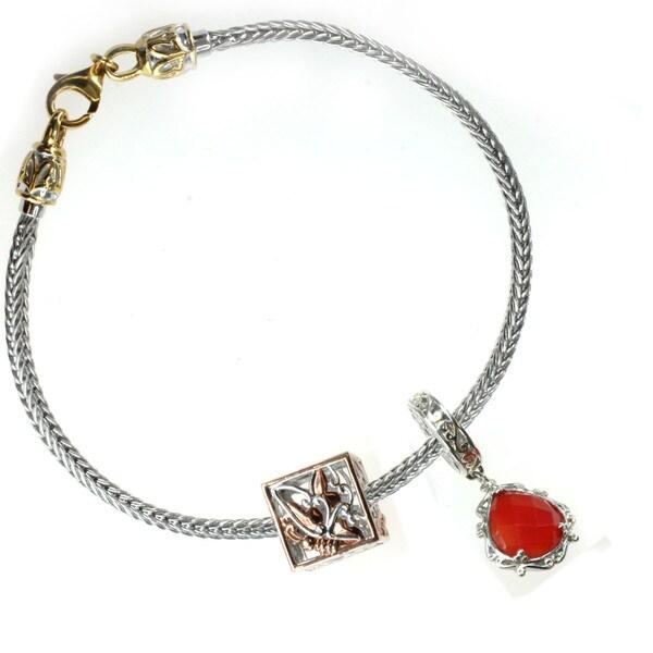 Michael Valitutti Sterling Silver Carnelian and Rose Embrace Charm Bracelet Set