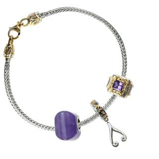 "Michael Valitutti Sterling Silver Amethyst ""Wish"" Triple Charm Bracelet Set"