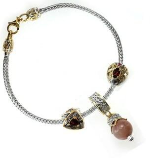 Michael Valitutti Sterling Silver Garnet, Ruby, Pink Sapphire and Silver Moonstone Triple Bracelet Charm Set