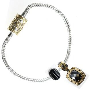 Michael Valitutti Sterling Silver Hematite and Onyx Bracelet Charm Set