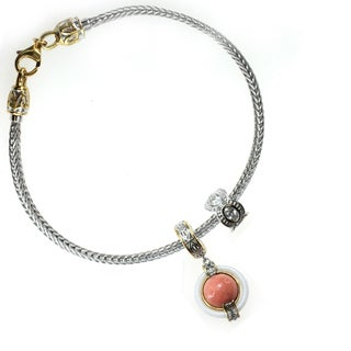 Michael Valitutti Sterling Silver White Onyx, Salmon Coral and Cubic Zirconia Charm Set with Bracelet