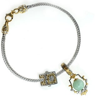 Michael Valitutti Sterling Silver Green Amazonite and Filigree Charm Set with Bracelet
