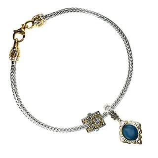 Michael Valitutti Sterling Silver Apatite and Filigree Bracelet Charm Set