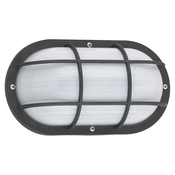 Fluorescent Outdoor Bulkhead Black Wall Fixture with Frosted Diffuser