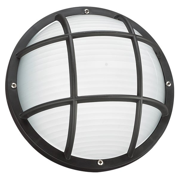 Seagull Lighting Bayside One Light Black Outdoor Bulkhead Wall/ Ceiling Fixture with Frosted Diffuser