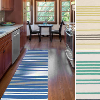 Hand-woven Concord Flatweave Striped Wool Rug (2'6 x 8')