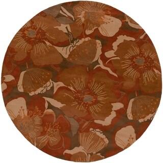 Hand-tufted Garden Floral Rust Wool Rug (9'9 Round)